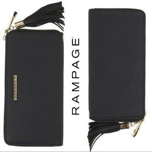 Rampage Black Zip Around Wrist Wallet Tassel Charm